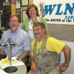 Seated: L to R: Substitute Co-host Dave Kruger, Doug Marbel Sturomski.  Standing: Co-host Sarah O'Connell