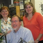 Seated: Substitute Co-host Rotarian Dave Kruger. Standing: (L) Co-host Sarah O'Connell, guest Dana Gavin