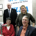 Seated L to R: Sue Osterhoudt, Pompey Delafield. Standing: Co-hosts Jonah Triebwasser, Sarah O'Connell