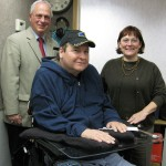 (standing, l to r) Jonah Triebwasser, Sarah O'Connell.  Seated, Ronald Jeffrey Callahan